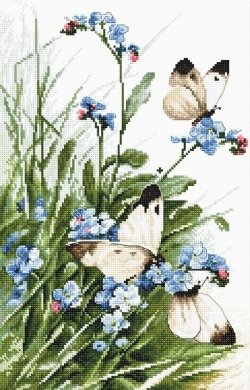 Butterflies and bluebird flowers LETI 939 LETISTITCH