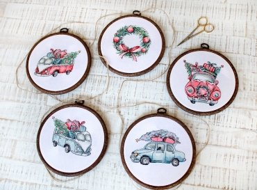 Christmas Retro Cars / Kit of 5 LETI 965 LETISTITCH